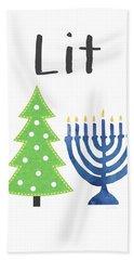 Lit Christmas And Hanukkah- Art By Linda Woods Bath Towel