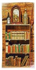Log Cabin Book Case Sketched Hand Towel