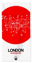 London Red Subway Map Bath Towel