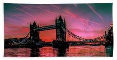 London Tower Bridge Sunrise Pano Hand Towel