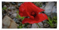 Lone Red Flower Hand Towel