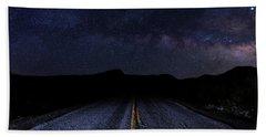 lonely Desert Road on a Starry Desert Night  Hand Towel