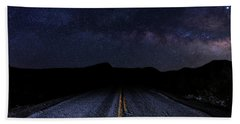 lonely Desert Road on a Starry Desert Night  Bath Towel
