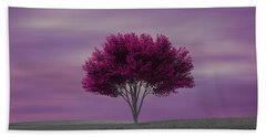 Lonely Tree At Purple Sunset Hand Towel