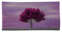 Lonely Tree At Purple Sunset Bath Towel