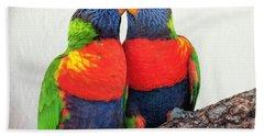 Lorikeet Lovebirds Bath Towel