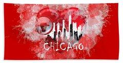 Hand Towel featuring the digital art Love Chicago Colors by Alberto RuiZ