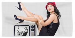 Lovely Asian Pinup Girl Posing On Vintage Tv Set Hand Towel