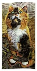 Lucky The Calico Cat Hand Towel