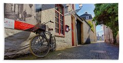 Bath Towel featuring the photograph Lux Cobblestone Road Brugge Belgium by Nathan Bush