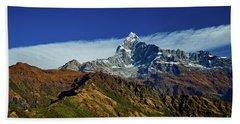 Machapuchare Mountain Fishtail In Himalayas Range Nepal Hand Towel