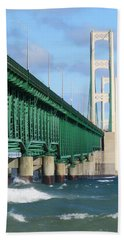 Mackinac Bridge And Waves Hand Towel