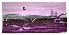 Mackinac Bridge Seagulls Hand Towel