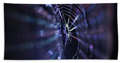 Macro Of A Spiders Web Captured At Night. Hand Towel