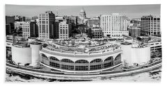 Hand Towel featuring the photograph Mad City Monochrome by Randy Scherkenbach