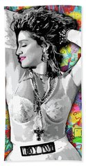 Bath Towel featuring the painting Madonna Boy Toy by Carla B