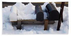 Mailboxes Covered In Snow 1 Hand Towel
