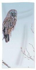 Majestic Great Gray Owl Hand Towel
