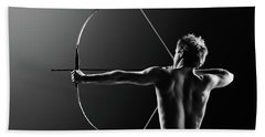 Male Archer Drawing Long Bow Hand Towel