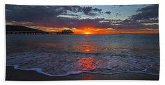 Malibu Pier Sunrise Hand Towel