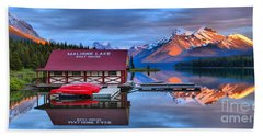 Maligne Lake Sunset Spectacular Hand Towel