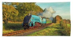 Mallard Steam Locomotive Bath Towel