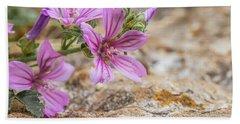 Malva Sylvestris - Spontaneous Flower Of The Tuscan Mountains Bath Towel