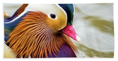 Mandarin Duck Portrait Hand Towel