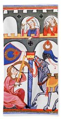 Manesse Codex -1305-40- German Manuscript.the Lover Herr Rubin Shoots With Crossbow His Message. Bath Towel