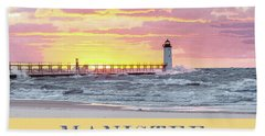 Manistee Pierhead Poster Hand Towel