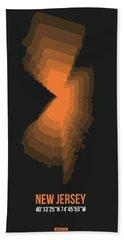 Map Of New Jersey, Orange Bath Towel