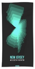 Map Of New Jersey.teal Bath Towel
