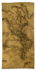 Map Of North America 1843 Bath Towel