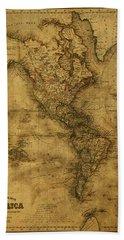 Map Of North America 1843 Bath Towel