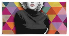 Hand Towel featuring the painting Marylin Monroe Diamonds by Carla Bank