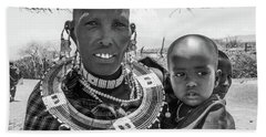 Masaai Mother And Child Hand Towel