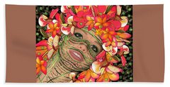 Mask Freckles And Flowers Bath Towel