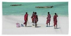 Massai At The Beach Hand Towel