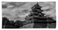 Matsumoto Castle Japan Black And White Hand Towel