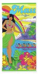 Maui Poster - Pop Art - Travel Bath Towel