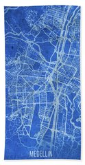 Medellin Colombia City Street Map Blueprints Hand Towel