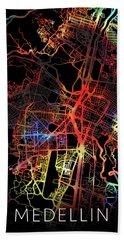 Medellin Colombia Watercolor City Street Map Dark Mode Bath Towel