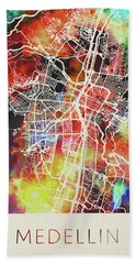 Medellin Colombia Watercolor City Street Map Hand Towel