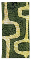 Mid Century Modern Abstract Gelli Plate Green Yellow  Hand Towel