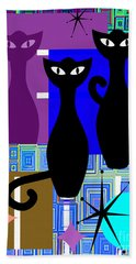 Mid Century Modern Abstract Mcm Bowling Alley Cats 20190113 V2m1 Bath Towel