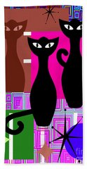 Mid Century Modern Abstract Mcm Bowling Alley Cats 20190113 V2m103 Bath Towel
