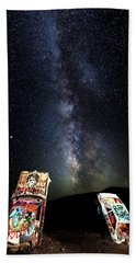 Milky Way Over Mojave Desert Graffiti 1 Hand Towel