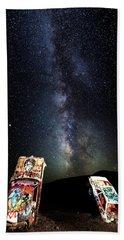 Milky Way Over Mojave Desert Graffiti 1 Bath Towel