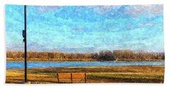 Missouri River Bench Painterly Bath Towel