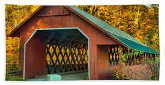 Misty Afternoon At The Creamery Covered Bridge Hand Towel